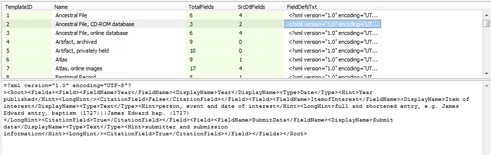 Source Templates – Field Count #sourcetemplates – SQLite